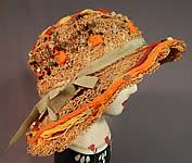 Vintage Woven Natural Straw Colorful Wood Beaded Embroidered Wide Brim Hat