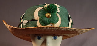 Vintage M. H. Loach Natural Straw Green Ribbon Feather Rosette Wide Brim Hat