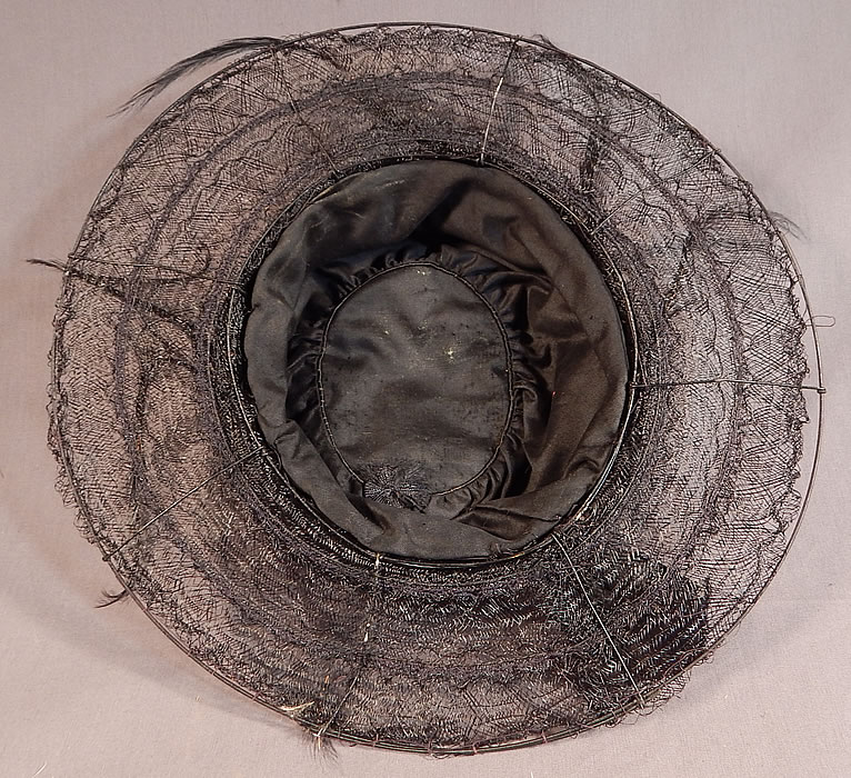 Edwardian Black Woven Horse Hair Crinoline Feather Trim Wired Wide Brim Hat