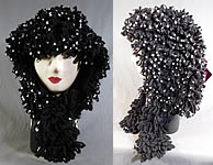 Victorian White Beaded Black Boucle Looped Knit Wool Winter Carriage Bonnet Hat
