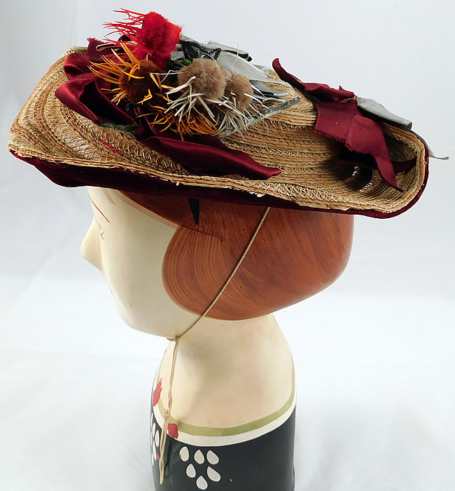 Victorian Womens Natural Straw Pork Pie Wide Brim Bonnet Hat Ribbon Thistle Trim