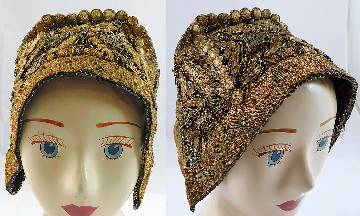 Antique Gold Lame Lace Rhinestones Bavarian German Folk Bonnet Goldhaube Hat