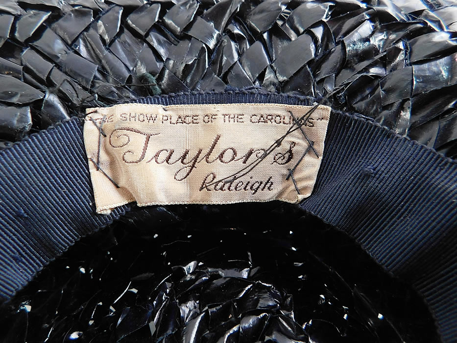 Vintage Taylor's Raleigh Flowering Dogwood Navy Blue Straw Veiled Fascinator Hat