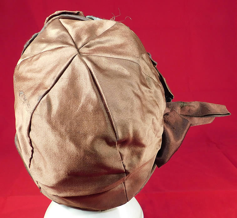 Vintage Fashion Hat Art Deco Brown Silk Silver Lame Rosette Flapper Cloche