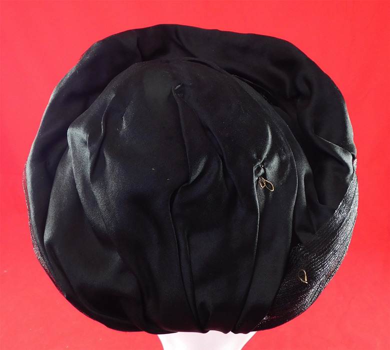 Victorian Black Crinoline Woven Horse Hair Silk Jet Beaded Trim Bonnet Hat