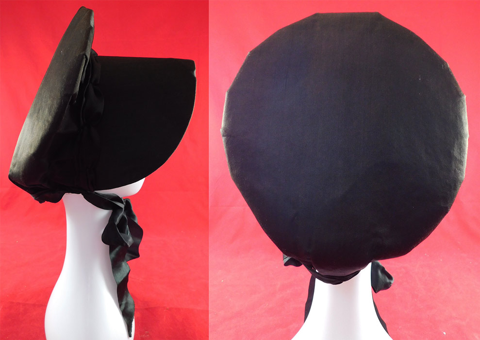 Victorian Style Quaker Amish Black Silk Wide Brim Bonnet Carriage Hat