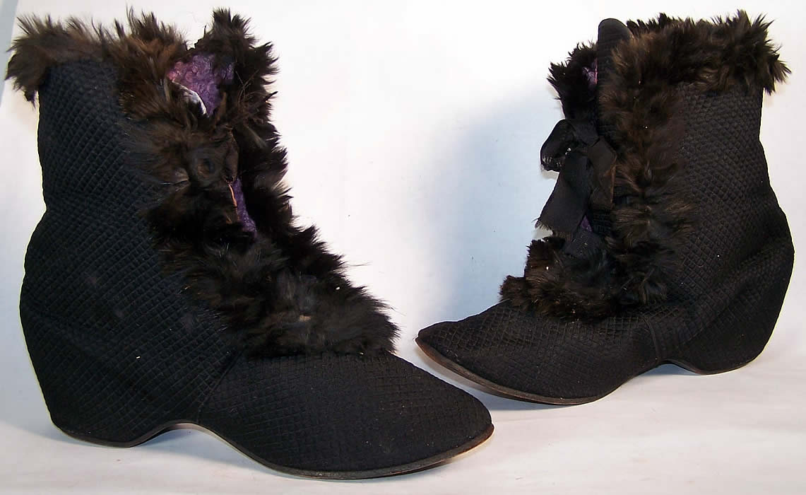 Victorian Black Silk Quilted Fur Trim Winter Carriage Boots  Front view.