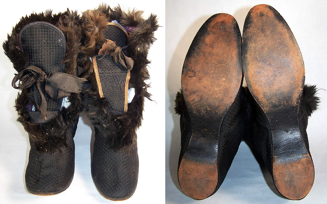 Victorian Black Silk Quilted Fur Trim Winter Carriage Boots Front & Bottom View.
