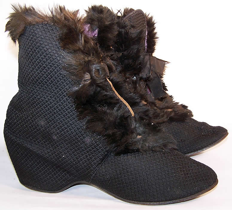 Victorian Black Silk Quilted Fur Trim Winter Carriage Boots  side view.