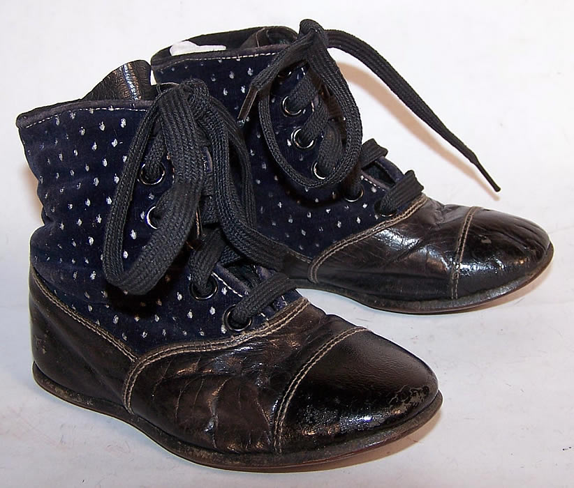 Victorian Blue Velvet White Dot Baby Boots Child Shoes Front View.