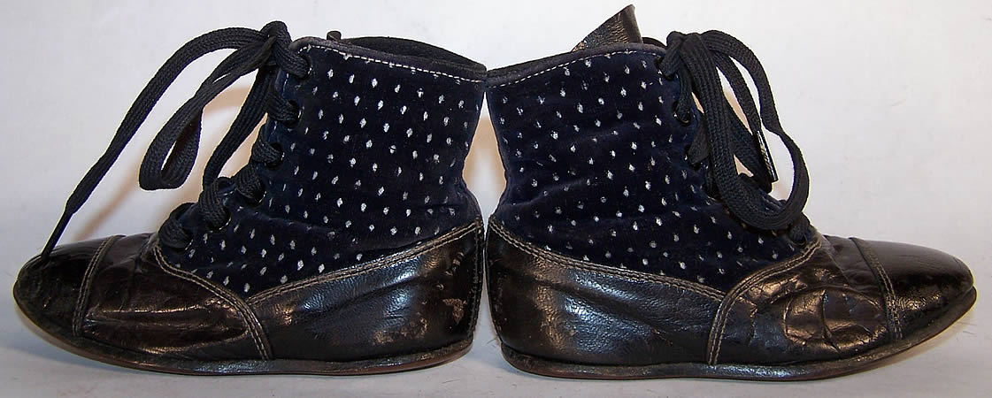 Victorian Blue Velvet White Dot Baby Boots Child Shoes side view.