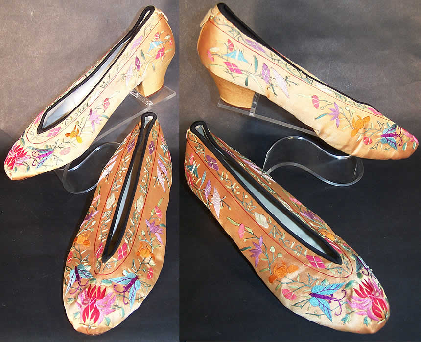 Chinese Gold Silk Embroidered Butterfly Slipper Shoes   Front view.
