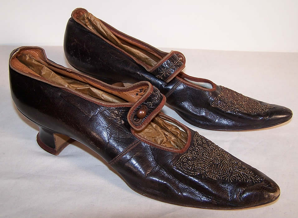 Edwardian Bronze Beaded Button Strap Mary Jane Shoes Side View.