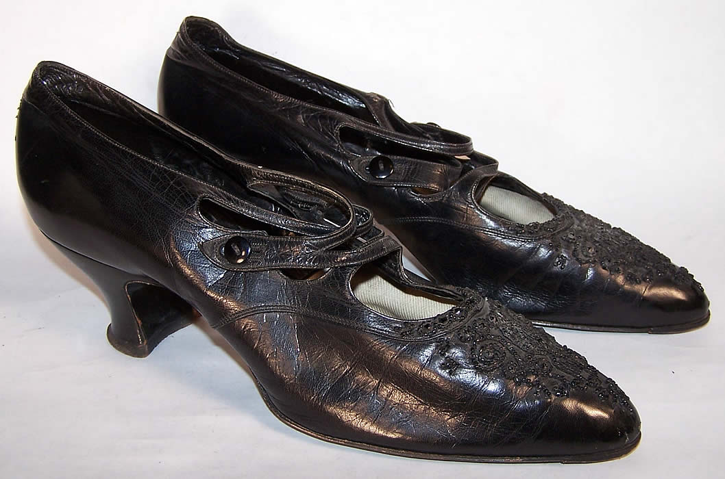Victorian Black Leather Jet Beaded Button Strap Shoes Side View.