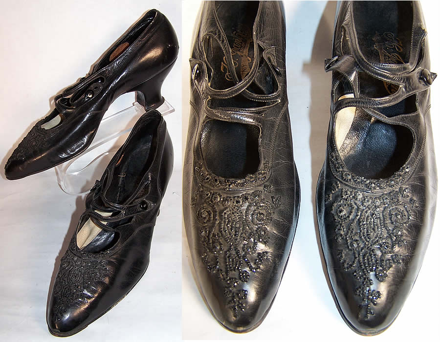 Victorian Black Leather Jet Beaded Button Strap Shoes front view.