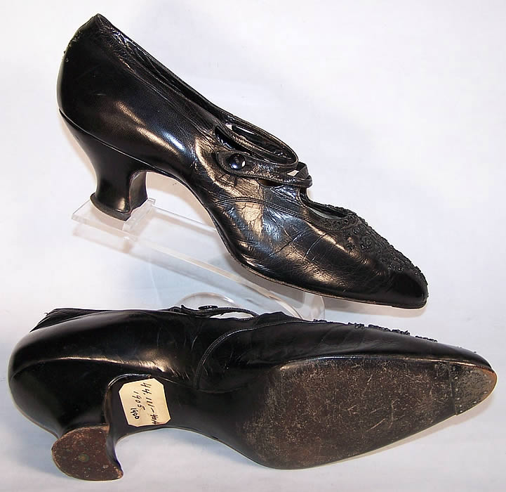 Victorian Black Leather Jet Beaded Button Strap Shoes side view