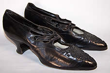 Victorian Black Leather Jet Beaded Button Strap Shoes