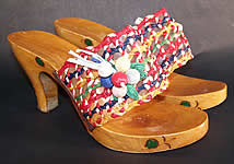 Raffia Straw Carved Wooden Painted Sandal Shoes Mules