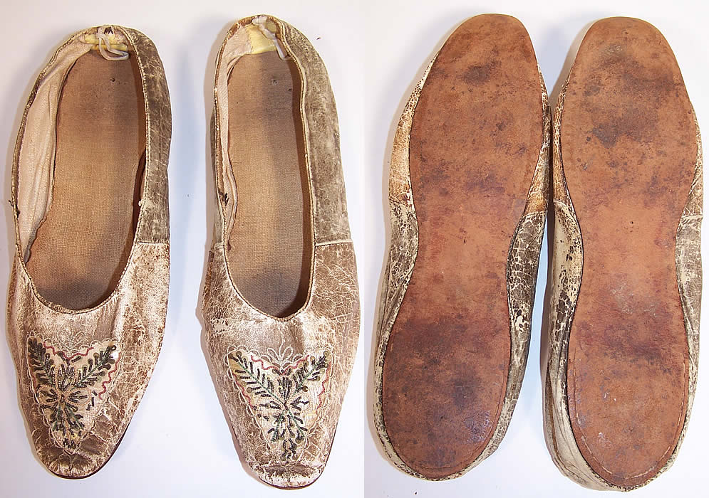 Victorian Kid Leather Sequin Beaded Embroidered Flats Straight Sole Shoes