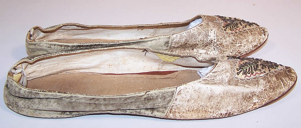 Victorian Kid Leather Sequin Beaded Embroidered Flats Straight Sole Shoes side view.