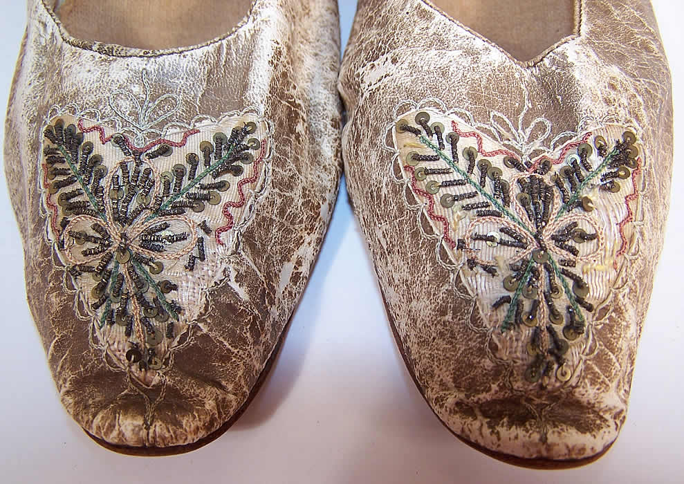 Victorian Kid Leather Sequin Beaded Embroidered Flats Straight Sole Shoes close up