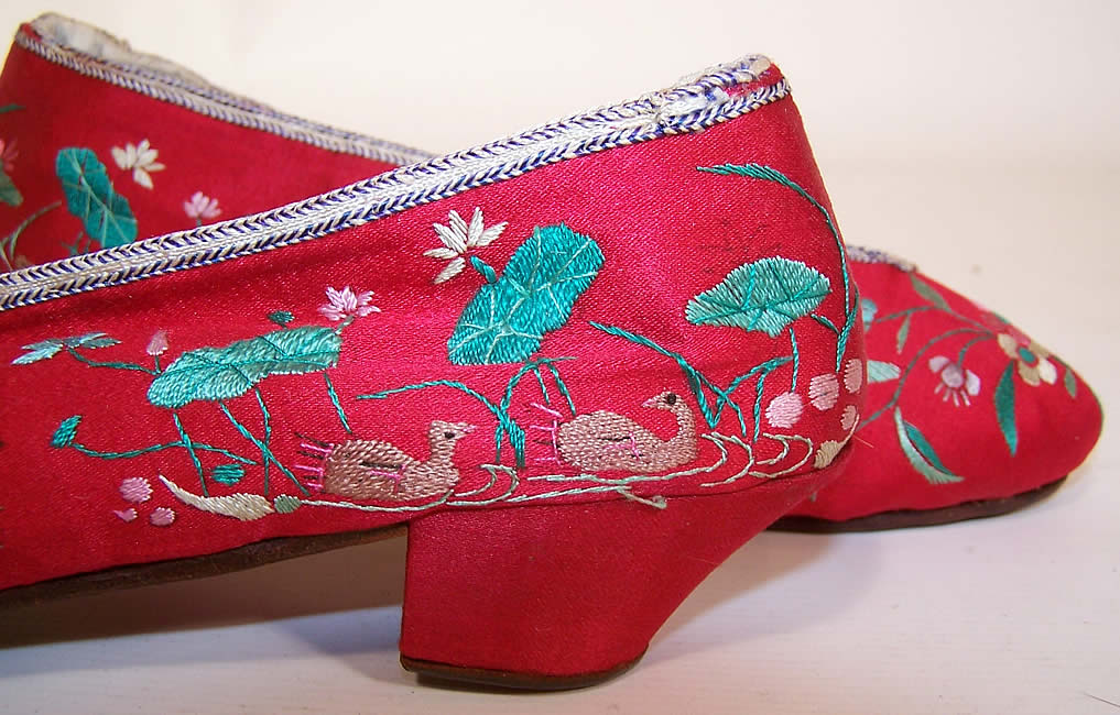 Antique Chinese Red Silk Embroidered Floral Duck Slipper Shoes close up.