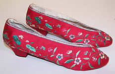 Antique 1930s Chinese Red Silk Embroidered Floral Duck Slipper Shoes