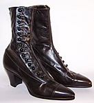 Unworn Vintage Victorian Womens Black Leather High Top Button Boots