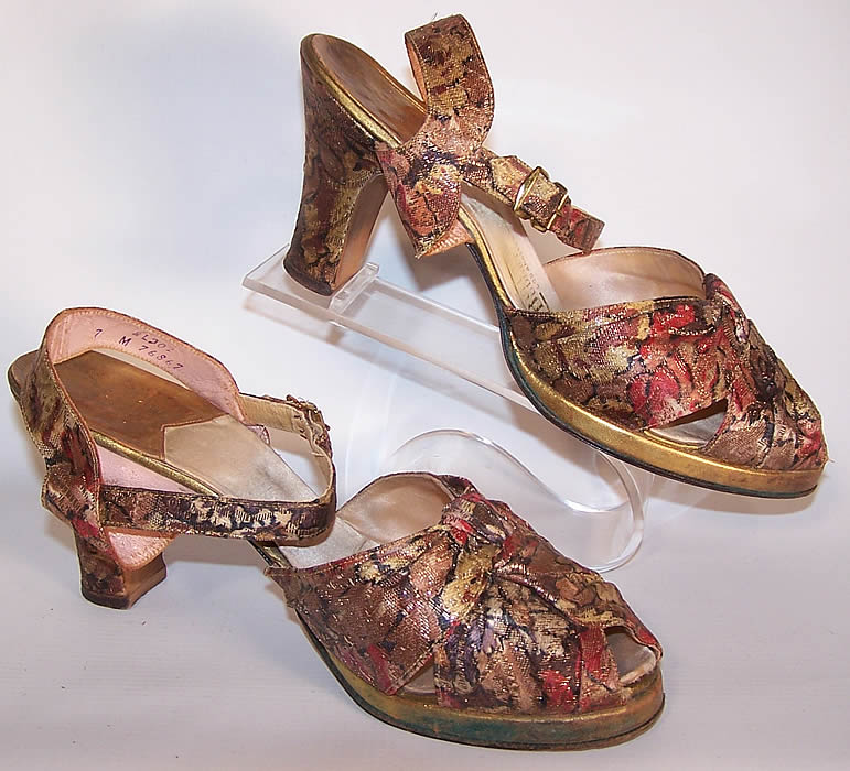 Vintage Gold Metallic Lamé Leather Platform Ankle Strap Shoes