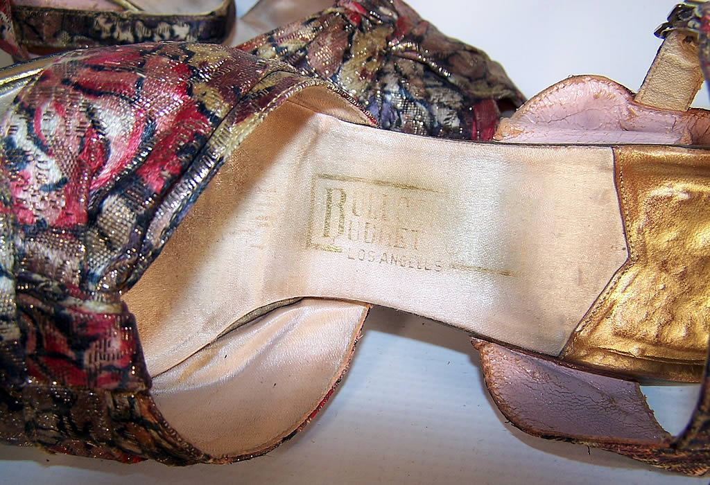 Vintage Gold Metallic Lamé Leather Platform Ankle Strap Shoes label close up.