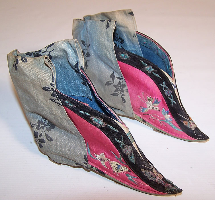 Antique Chinese Pink Silk Embroidered Bound Foot Lotus Slipper Shoes