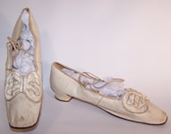 Victorian Wedding White Kid Bow Trim Ribbon Ties Straight Sole Shoes