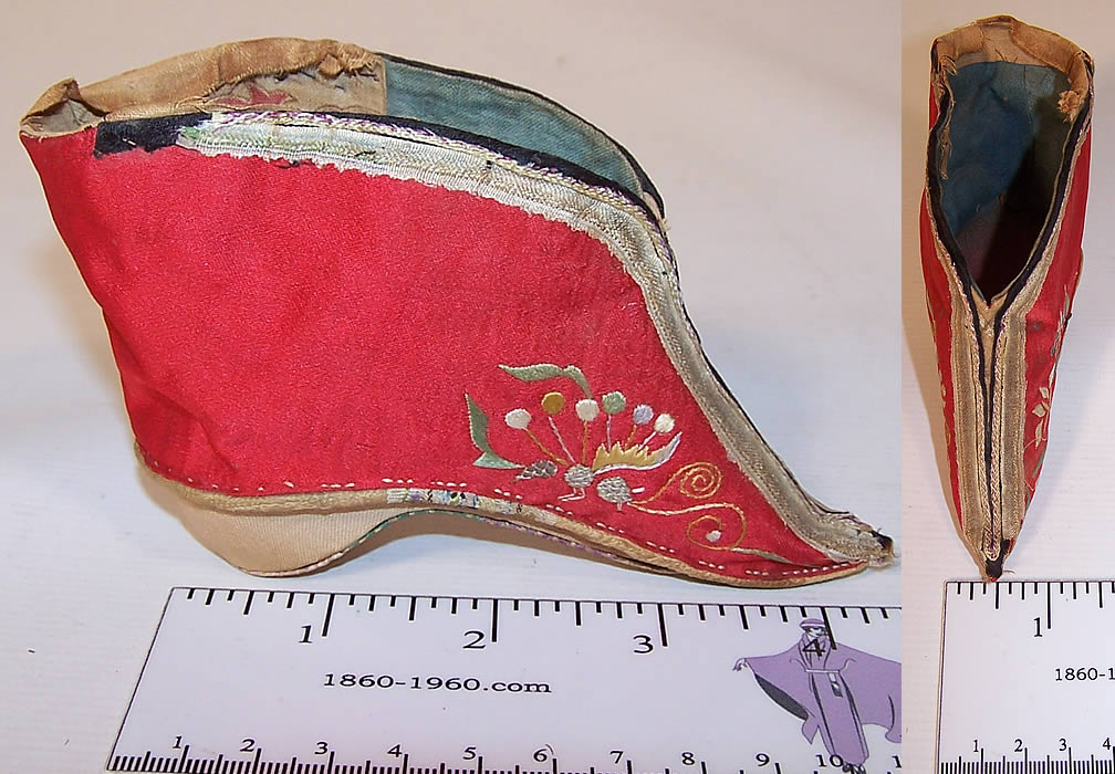 Antique Chinese Red Silk Embroidered Bound Foot Lotus Slipper Shoe