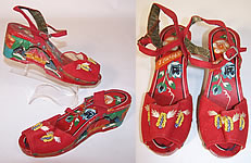 1940s Vintage Philippines Hand Painted Carved Wooden Wedge Sandal Shoes