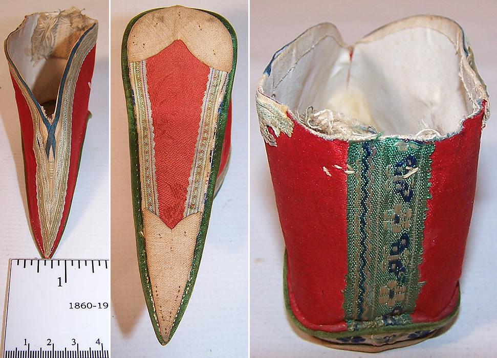Antique Chinese Red Silk Hand Painted Lotus Bound Foot Slipper Shoe top, bottom and close up