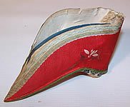 Antique Chinese Red Silk Hand Painted Lotus Bound Foot Slipper Shoe