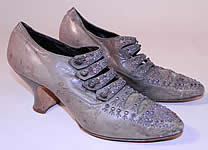 Vintage Edwardian Dove Gray Leather Steel Cut Beaded Button Strap Shoes
