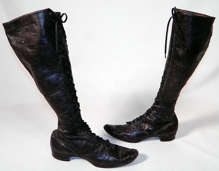 Victorian Womens Black Leather High Top Lace-up Hiking Riding Boots
