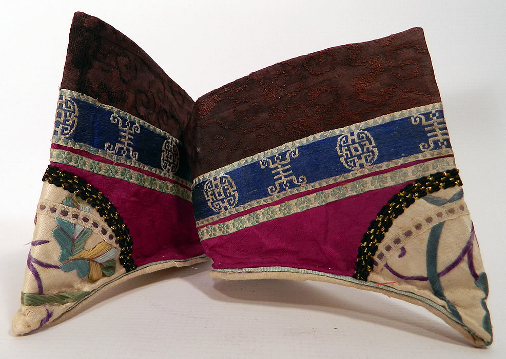 Antique Chinese Purple Silk Embroidered Bound Foot Lotus Slipper Shoes