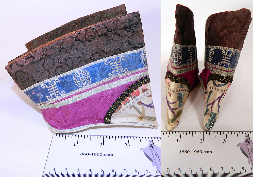 Antique Chinese Purple Silk Embroidered Bound Foot Lotus Slipper Shoes two pictures in one