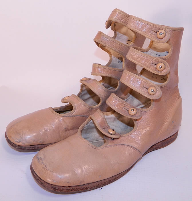 Edwardian Tan Leather High Button Strap Childrens Boots Shoes