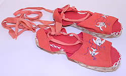 Vintage Red Linen Goldfish Ankle Tie Rope Sole Childrens Beach Sandal Shoes