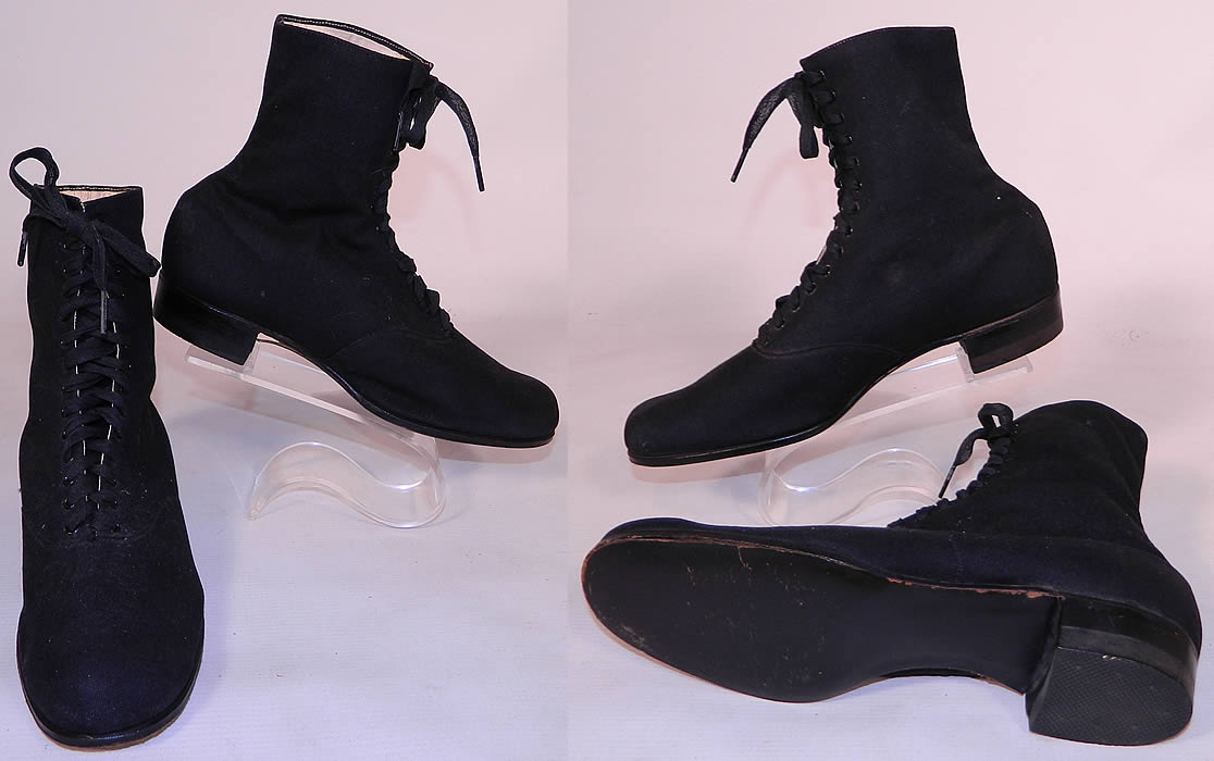 Victorian Womens Black Cotton Canvas Athletic Gym Sporting Shoes Boots. The shoes measure 7 1/2 inches tall, 10 1/2 inches long and 3 inches wide. They are in excellent unworn condition.