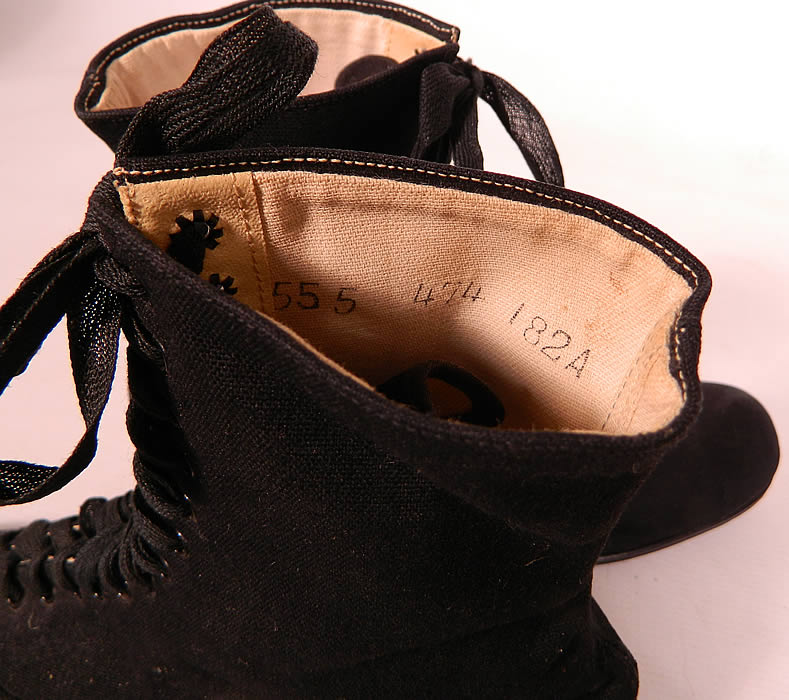 Victorian Womens Black Cotton Canvas Athletic Gym Sporting Shoes Boots. This is truly a rare and wonderful piece of women's early athletic wear!