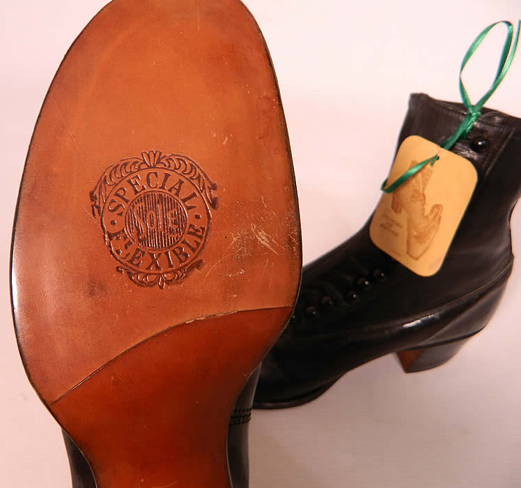 "Victorian Unworn Vintage Welteze Shoes Black Leather High Button Boots. They are stamped on the bottom leather soles ""Special Flexible Sole"" and come with the original paper tag from ""Welteze Shoes""."