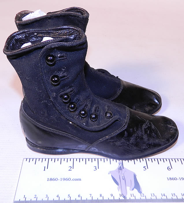 Victorian Black Wool Leather High Button Button Baby Boots Childs Shoes. The boots measure 5 inches tall, 7 inches long and are 2 inches wide.
