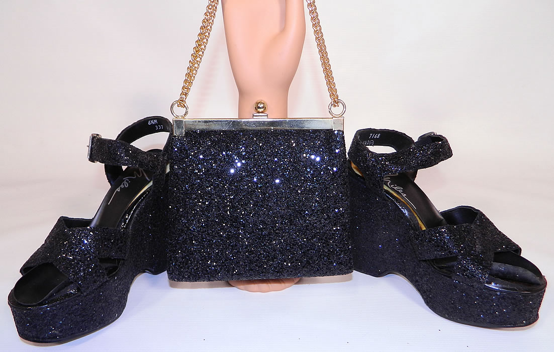 Vintage Miles Black Glitter Disco Platform Shoes & Purse Set. This pair of vintage Miles black glitter disco platform shoes and purse set date from the 1970s. They are covered and encrusted with a black sequin glitter.