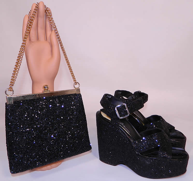 Vintage Miles Black Glitter Disco Platform Shoes & Purse Set. These sensational sexy disco shoes have a platform front lift, open toes, crisscross strap X vamps, with adjustable buckle ankle straps and a high platform wedge heel.