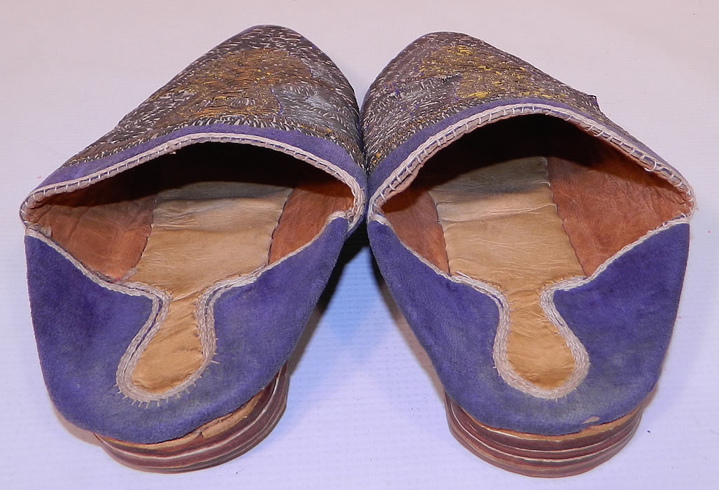 Vintage Moroccan Ladies Mules Cherbil Metal Embroidery Velvet Slipper Shoes. They are made of purple velvet, with hand embroidered gold   and silver gilded wire thread embroidery couching needlework.