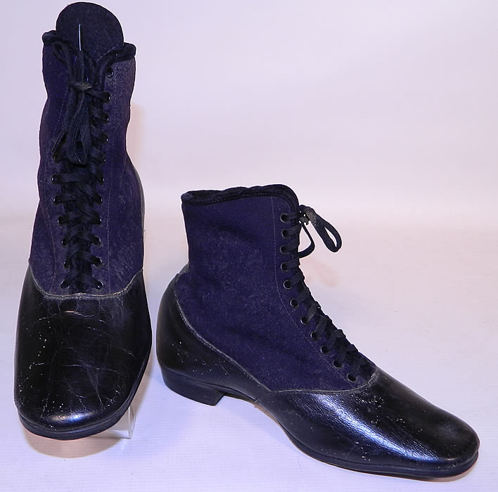 Victorian Black Leather Navy Blue Wool Winter High Top Lace-up Boots . This pair of antique Victorian era black leather navy blue wool winter high top lace-up boots date from the 1870s.